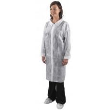 Labaratorijas halāts ar līpklipšu priekšējo aizdari, balts, 10 gab., 1 pac.