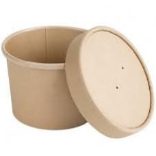 Papīra bļoda, apaļa, kraft ar vāku 350ml, 25gb (kastē 20pac)