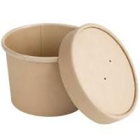 Papīra bļoda, apaļa, kraft ar vāku 770ml, 25gb (kastē 20pac)