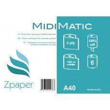 Zpaper MIDI MATIC Roku dvieļi ruļļos, automātiskajiem dispenseriem, 2 slāņi, 150 m, 6 gab.