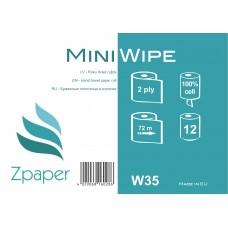 Zpaper Mini Wipe roku dvieļi ruļļos ar centrālo padevi, 2 slāņi, 72 m., 12 gab.