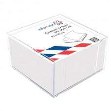 Piezīmju papīrs kastītē Attomex 90x90x50mm, balts