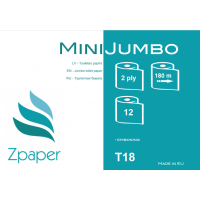 Zpaper Mini Jumbo tualetes papīrs, 2 slāņi, 180 m., 12 gab.